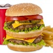 Burger, french fries and cola — Stock Photo #30355833