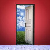 Białe drzwi otwarte w trawie na tle nieba ładne — Zdjęcie stockowe