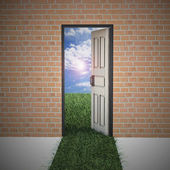 Open door from brick wall to new life . — Stock Photo