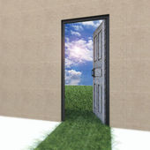 Open door to new life on the field. — Stock Photo