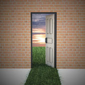 Open door to new life from brick wall. — Stock Photo