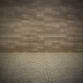 Concrete wall with pavement — Stock Photo