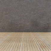 Wood floor and grunge brick wall — Stock Photo