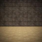 Dřevěné podlahy a stěny grunge — Stock fotografie