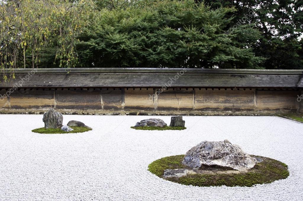 Trädgård Grus : Ryoanji temple en trädgård stenar på vitt grus kyoto