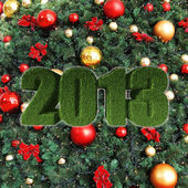 2013 New Year sign on christmas tree — Stock Photo