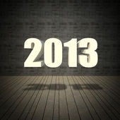 2013 new year with grunge wall and old wood floor — Foto Stock