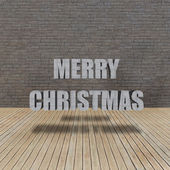 Merry Christmas Wood floor and grunge brick wall — Stock fotografie