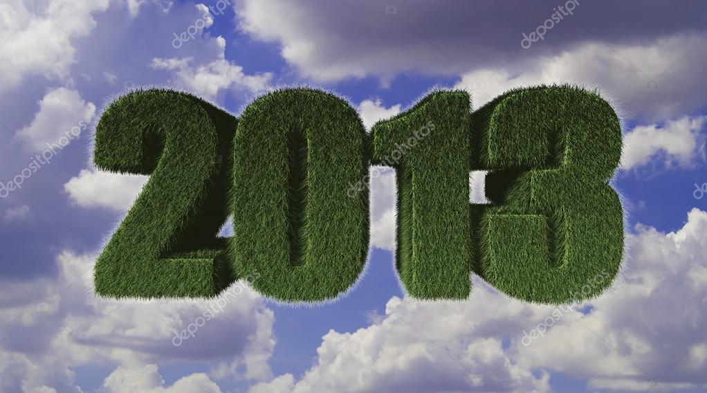 2013 New Year sign of green grass with blue sky. Eco concept   Stock Photo #16936607