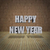 Happy New Year lettering with limestone wall — Stock Photo
