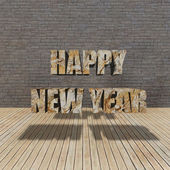 Happy New Year and grunge brick wall — Stock Photo