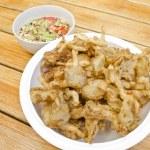 Fried Sajor-caju Mushroom with spicy sauce — Stock Photo