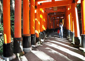 KYOTO, JAPAN - OCT 23 2012: A man takes photos of torii gates at — Stock Photo