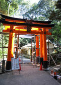 Tori gates at Fushimi Inari Shrine in Kyoto, Japan. — Stock Photo