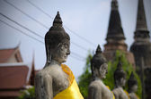 Ancient Buddha statues in Ayutthaya, Thailand — Stock Photo