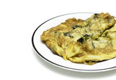 Oyster omelet fire with egg, thai food — Stock Photo