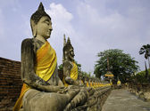 "Buddha statues in a row at ""Wat Yai-Chaimongkol temple in Ayutth — Stock Photo"