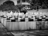 Cemetery Image with Crosses — 图库照片