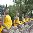 Ancient Buddha statues at Wat Yai Chai Mongkol, Ayutthaya, Thail — Stock Photo