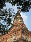 Big pagoda in mongkol temple at ayutthaya province, Thailand — Stock Photo