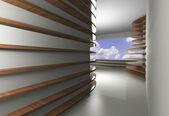 Абстрактный интерьер с кривой деревянные полки — Стоковое фото