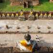 Top view of Buddha statue at Old Temple Wat Yai Chai Mongkhon, A — Stock Photo