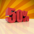 Stock Photo: Discount fifty percent on orange background