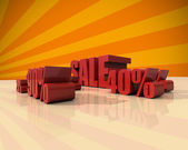 Sale discount set with percents and volume 3D font — Stock Photo