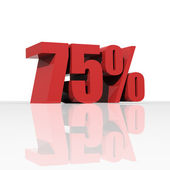 3D rendering of a 75 percent discount in red letters — Stock Photo