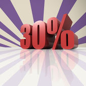 Thirty percent in red letters on a violet background — Stock Photo