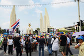 Bangkok - November 11 : The Democrats Are On The March At Democracy Monument — Stock Photo