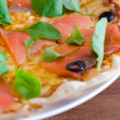 Stock Photo: Salmon Slice Pizzwith Mozzarella