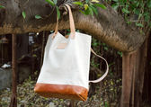 Leather Bags hang on banyan branch — Stock Photo
