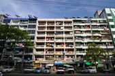 Yangon, Myanmar - October 12, 2013 - Facade Of Run-down Housing Block In The Indian Quarter — Stock Photo