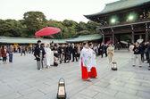 TOKYO,JAPAN-NOVEMBER 20 : A Japanese wedding ceremony at Meiji J — Stock Photo