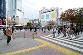 Tóquio - 28 de novembro: multidões de pessoas atravessando o centro do shibuya — Fotografia Stock