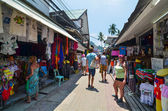 KRABI,THAILAND - APRIL 14, 2014 : The tourist visit small touristic village at Phi Phi island, Krabi, Thailand — Stock Photo