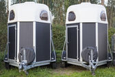 Twin horse trailers — Stock Photo