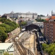 Madrid view, with Prince Pio railway station and Royal palace — Stock Photo #46157523