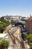 Madrid view, with Prince Pio railway station and Royal palace — Stockfoto