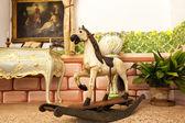 Vintage wooden rocking horse toy — Stock Photo