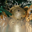 Stock Photo: Jingle bell in tinsel