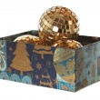Stock Photo: Xmas balls in parallelepiped new year box without cap