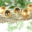 Christmas decoration composition with firtree and balls — Stock Photo