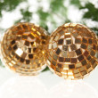 Stock Photo: Two christmas balls on firtree