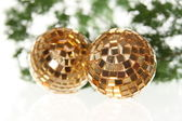 Two christmas balls on the firtree — Stock Photo