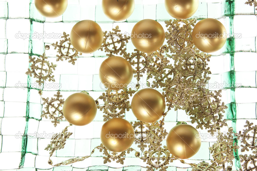 Christmas balls background on the green plate  Stock Photo #14061242