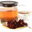 Tea with cherry jam and lemon isolated — Stock Photo