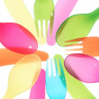 Different colors Spoon knife and fork background close — Stock Photo #15416071