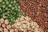 Buckwheat oatmeal grains background — Stock Photo